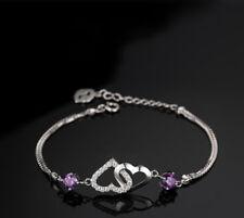 925 Sterling Silver Love Heart Charm Shining Bracelet Womens Ladies Jewellery UK