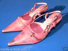 Superbes escarpins sexy chaine métal T38 rose cerusé 38 talons chaussures shoes