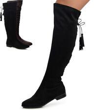 Damen Stiefel Overknee Boots Blockabsatz Velours