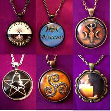 Wiccan Pagan Pentagram Goddess Raven Triskele Pendant Necklace , 30mm Cabochon