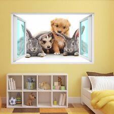 Cute Rabbits Puppies Animal Wall Sticker Mural Decal Kids Room Home Decor DE31