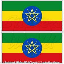 ÄTHIOPIEN Flagge ÄTHIOPISCHE Afrika Fahne 75mm Vinyl Sticker Aufkleber x2