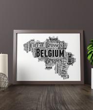 Personalised Belgium Word Art Map - Belgian Word Art Gift - Add Your Own Words