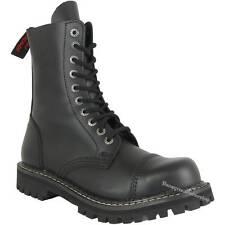 Angry Itch 10-Loch Schwarz Rangers Leder Stiefel Stahlkappen Boots Schuhe Black