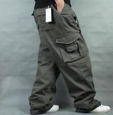 Men Baggy Loose Hip-Hop Carpenter Casual Overall Cotton Long Pants Trousers36-51