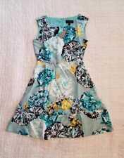 NEW 2 10  J CREW AQUATIC FLORAL SILK DRESS PEWTER MULTI BLUE A-LINE