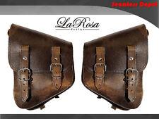 La Rosa Harley Softail Rustic Leather Left & Right Swing Arm Saddle Bag Set