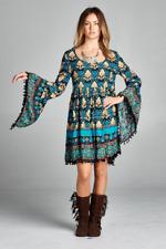 Cute Regular Size BoHo Gypsie Mini Dress Tunic S, M, L