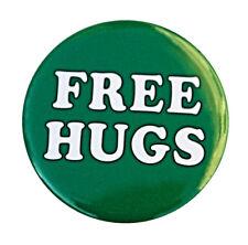 "FREE HUGS - Button Pinback Badge 1.5"" Green"