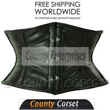 Waspie Shaper Cincher Mini Full Steel Bone Spiral Sexy Soft Black Leather Corset