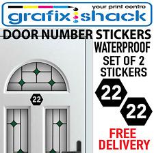 2 DOOR NUMBER STICKERS POLYGON SHAPE SET OF 2 FOR HOUSE DOORS BIN GARAGE NUMBERS