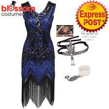 K225 Blue Ladies 1920s Roaring 20s Flapper Costume Sequins Outfit Fancy Dress Up