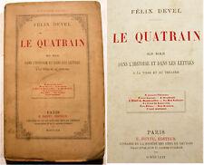 LE QUATRAIN/FELIX DEVEL.E.DENTU/1870/THEATRE/RARISSIME!
