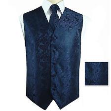Navy Blue XS - 6XL Paisley Tuxedo Suit Dress Vest Waistcoat & Necktie And Hankie