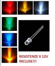 10X LED 5mm ALTA LUMINOSITà + RESISTENZE 12V BIANCHI BLU ROSSO VERDE GIALLO