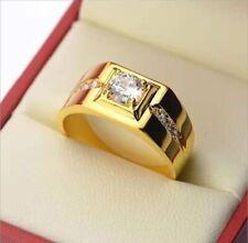 Vintage Gold Solitaire Engagement Ring Sapphire Couple Ladies Fashin Men Gift
