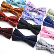 New Men's Bow Ties Silk Tie Black Red Multi-Color Paisley Adjustable Neck Wear