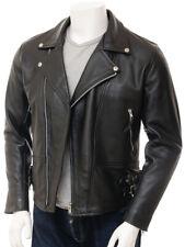 Leather Jacket for Men Black Biker Moto Pure Slim Size S M L XL XXL Custom made