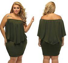 Ladies Green Lagenlook Plus Multiple Dressing Layered Mini Dress 16 18 20 22