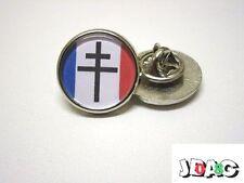 PINS BADGE FFI - CROIX DE LORRAINE - DRAPEAU FRANCE LIBRE - ARGENT OU OR