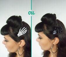 Pince clip cheveux main os squelette noir blanc phosphorescent pinup psychobilly