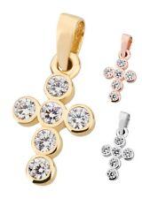 Kreuz Anhänger aus 333 Gold Weißgold Rosegold mit Zirkonia-Steine rund Kugeln