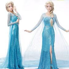 Elsa Queen Dress Costume Adult Women Cosplay Flowery Fancy Party Gown S M L XL