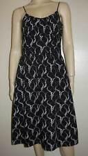 ANN TAYLOR Cotton Black White Floral Print Dress 6