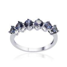 Tanzanite (Rnd) Ring in Platinum Overlay Sterling Silver 1.500 Ct.