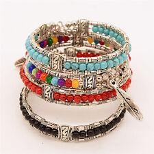 Tibetan Silver Feather Bangle Women Gypsy Turquoise Vintage Bohemian Bracelet OZ