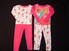NWT Girls Disney Princess Pajamas 2 Pairs Winter Pjs 4