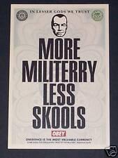 Shepard FAIREY plus militerry moins skools CARTE POSTALE obéir