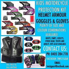 Peewee Mini MX Dirt Bike BLUE 6-8 yr old helmet glove goggle armour safety kit