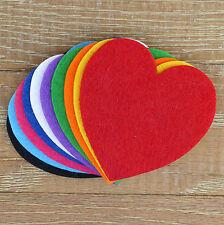 10x 3mm Thick Felt Curvaceous Hearts Craft Shapes Sizes 6-15cm 11 Colours