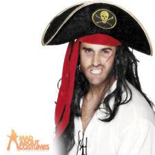 Adult Pirate Hat Velvet Black Captain Hook Buccaneer Fancy Dress Accessory New