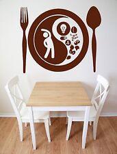 Vinyl Decal fork spoon plate food taste appetites Wall Sticker (n564)