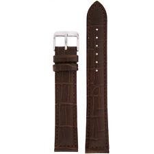 Extra Long Watch Band Dark Brown Genuine Leather Strap Alligator Grain LEA 1485