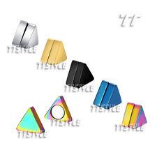 TT Stainless Steel Triangle Magnet Fake Ear Plug Earrings A Pair  (BM03)