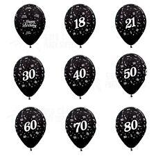 28CM METALLIC BLACK LATEX BALLOONS BIRTHDAY 18TH 21ST 30TH 40TH 50TH 60TH