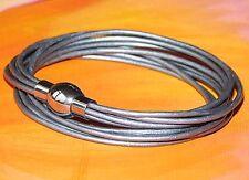 Para mujeres cuero y plata de acero inoxidable Pulsera de doble arrollamiento de Lyme Bahía Arte