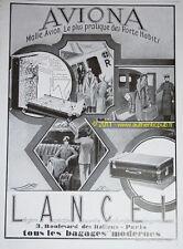 PUBLICITE ANCIENNE DE 1928 LANCEL AVIONA MALLE AVION PORTE HABIT FRENCH LUXE AD