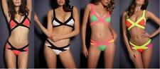 Women Ladies Sexy Bandage Neon Bikini Set Padded Swimsuit Beachwear Swimwear
