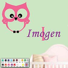 Owl Kids Wall Art Personalised Children Sticker Name Baby Girl Nursery Bedroom