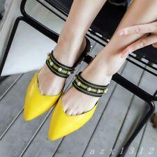 Women Pointy Toe Bead Slip On Slingback Mid Block Heel Shoe Party Slipper Sandal