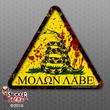 "Dont Tread on Me Triangle ""Molon Labe Blood"" Sticker FS203 Vinyl Decal Car Truck"