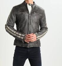 Mens Biker Distressed  Waxed Vintage Black Real Leather Jacket