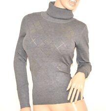 MAGLIETTA donna maglione GRIGIO sottogiacca collo alto maglia manica lunga Z60