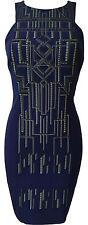 Womens Karen Millen Tribal Embroidery Print Party Dress Blue Ladies Size 12 40