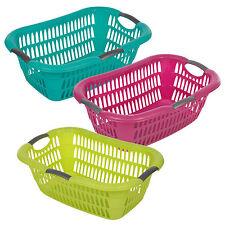 Plastic Hipster Laundry Basket Handles Storage Washing Hamper Bin Ergonomic NEW