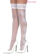 SEXY calze AUTOREGGENTI Bianche Silicone Ricamate Sposa Pizzo lingerie GLAMOUR
